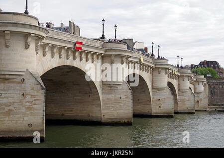 Paris, France, Pont Neuf (New bridge), in fact oldest bridge over Seine in Paris, - Stock Photo