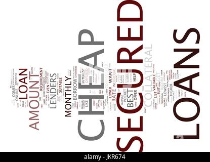 THE BEST COMES WITH THE LOWEST WITH CHEAP SECURED LOANS Text Background Word Cloud Concept - Stock Photo