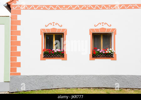 Rural decorated house in Holasovice, Czech Republic. UNESCO World Heritage Site in South Bohemia - Stock Photo