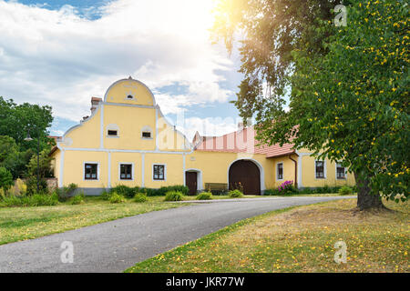 Rural decorated houses in Holasovice, Czech Republic. UNESCO World Heritage Site in South Bohemia - Stock Photo