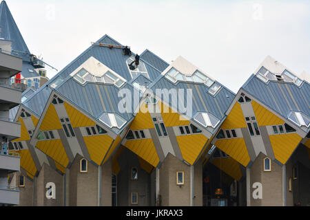 29 April 2017- Rotterdam, Netherlands. The modern, cubic apartments built in Rotterdam - Stock Photo