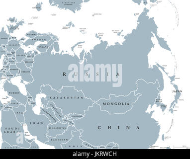 Eurasia political map with countries and borders. Combined continental landmass of Europe and Asia located in Northern - Stock Photo