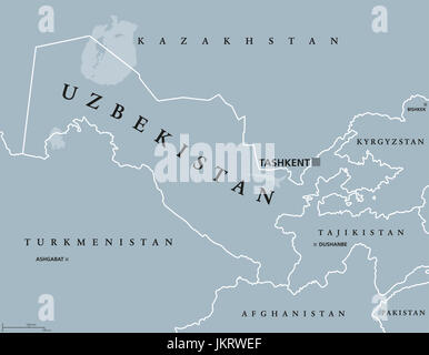 Uzbekistan political map with capital Tashkent and international borders. Republic and landlocked country in Central - Stock Photo
