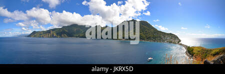 panorama of scotts head, dominica, caribbean - Stock Photo
