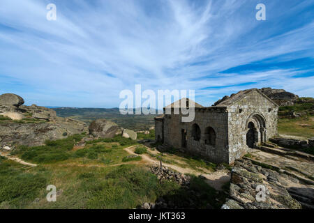 The romanic chapel of Sao Miguel (Capela de Sao Miguel) in the outskirts of the medieval village of Monsanto in - Stock Photo