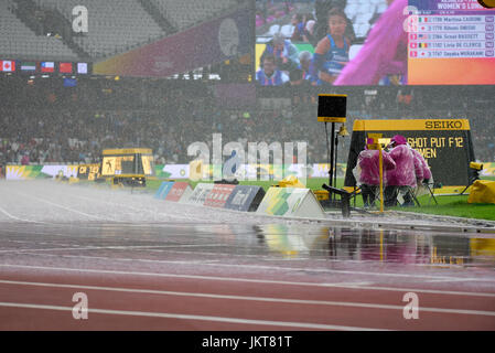 Flooded track at the World Para Athletics Championships in the London Olympic Stadium, London, 2017. - Stock Photo