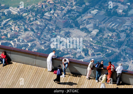 View of Chamonix from Aiguille du midi - Stock Photo