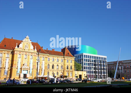 CROATIA ZAGREB, 30 JUNE 2017: Museum of Arts and Crafts and new building of Academy of Music, University of Zagreb, - Stock Photo