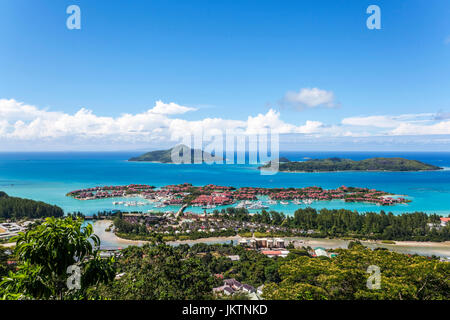 East cost with Eden Island (Artificial), Ile au Cerf, Ste Anne Marine National Park from Above, Mahe Island, Seychelles, - Stock Photo
