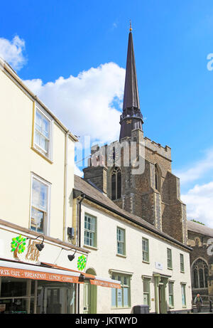 Elegant spire St Peter and St Mary church in town centre, Stowmarket, Suffolk, England, UK - Stock Photo