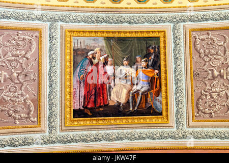 Painting in the Palazzo dei Normanni, Palace of the Normans, Palermo, Sicily, Italy - Stock Photo