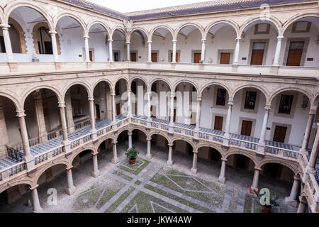 Interior court of Palazzo dei Normanni, Palace of the Normans, Palermo, Sicily, Italy - Stock Photo