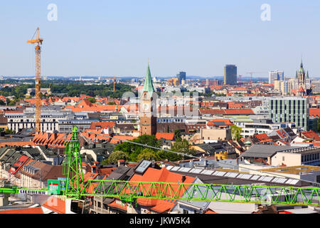View from Saint Peter's tower, Munich, Bavaria, Germany - Stock Photo