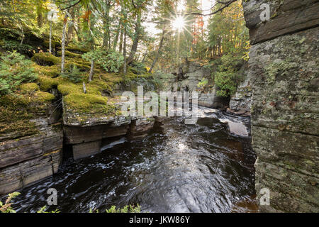 Sturgeon River Gorge downstream from Canyon Falls in the Upper Peninsula of Michigan. Located near L'Anse, in Baraga - Stock Photo