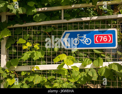 Close up of white fence with cycle route 76 sign on riverside path, Haddington, East Lothian, Scotland, UK, in Summer - Stock Photo