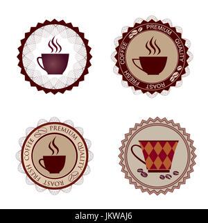 Cup set. Coffee break icon. Stylish tea mug collection isolated on white. - Stock Photo