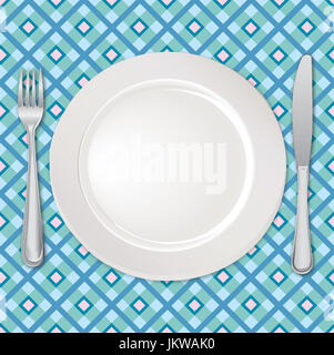 Table setting set. Fork, Knife, Spoon, Empty Plate set. Cutlery white collection. Catering vector illustration. - Stock Photo
