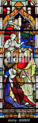 Miracles of Jesus, Say Unto Thee Arise, stained glass window, by Heaton Butler & Bayne, 1878, Swaffham, Norfolk, - Stock Photo