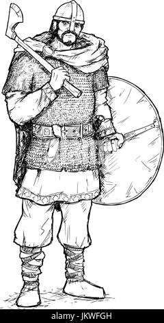 Hand drawing pen and ink illustration of ancient viking warrior in ring mail with war axe and shield. - Stock Photo