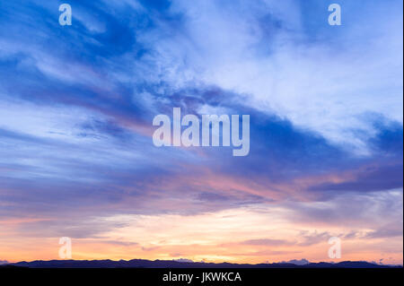 Future, time passing, new day, sky, Bright Blue, Orange And Yellow Colors Sunset sunrise - Stock Photo
