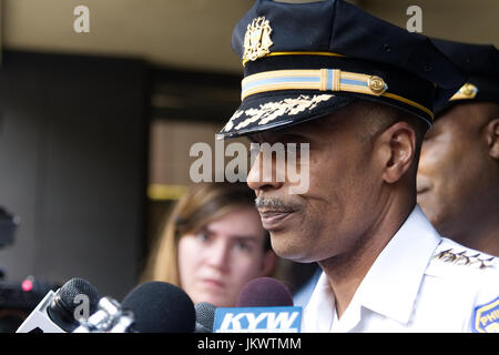 Philadelphia Police Dept. Commissioner Richard Ross reacts after US Attorney General Jeff Sessions delivered a speech - Stock Photo