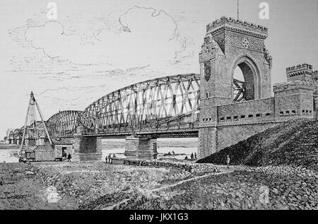 Digital improved:, The railway bridge over the Vistula near Tczew, Poland, Illustration, publication from the year - Stock Photo