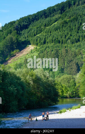 people bathing in river Erlauf in Miesenbach, Scheibbs, Mostviertel, Niederösterreich, Lower Austria, Austria - Stock Photo