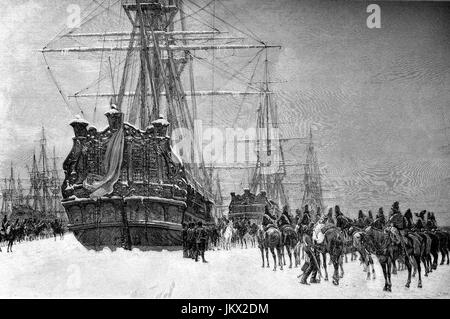 Digital improved:, Hussars of the French Republic seized the Dutch fleet, which was enclosed by the ice in 1795, - Stock Photo