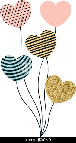 set of balloons in heart shape with different decorations - Stock Photo