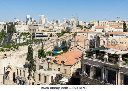 A view from the Jerusalem Citadel, in the Old City, Jerusalem, Israel, shows the wall of the Old City - Stock Photo