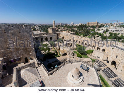Inside the walls of the Jerusalem Citadel, or the Tower of David, in the Old City, Jerusalem, Israel. - Stock Photo