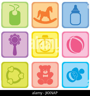 Baby toys isolated. Set of toy icon. Baby care play sign collection - Stock Photo