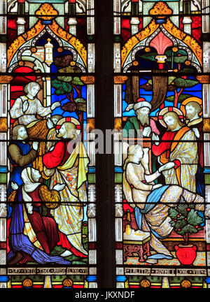 Miracles of Jesus, Say Unto Thee Arise, Talitha Koum, Jairus' daughter, stained glass window, by Heaton Butler & - Stock Photo