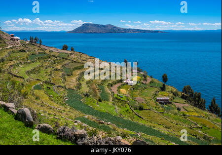 View of Amantani Island as seen from Taquile in Lake Titicaca, Peru. - Stock Photo