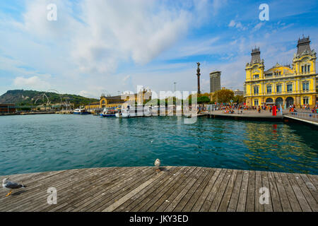 The boardwalk and coast on a sunny summer day in Barcelona Spain
