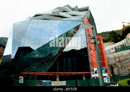 ANDORRA LA VELLA, ANDORRA - May 22, 2016: Construction of an iconic building named 'Diamond' in the centre of Andorra - Stock Photo