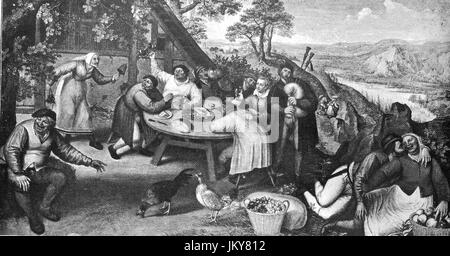 Digital improved:, In front of the tavern, drunken men's round, a musician and a couple in front of the inn, painting - Stock Photo