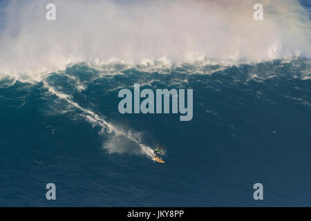 Big wave surfing event. The biggest surfing waves in the world, at Praia do Norte beach, Nazare, Portugal, popularized by Garrett MacNamara