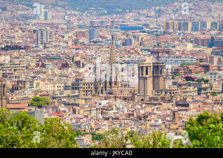 Architectural buildings and Panoramic aerial view of Barcelona city from Montjuic Hill - Stock Photo