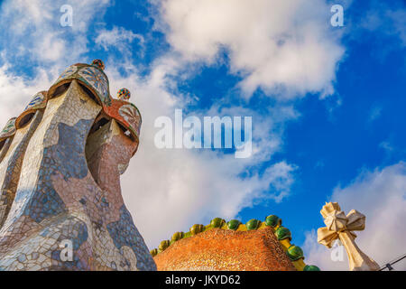 The roof of Gaudi's creation-house Casa Batlo. Casa Batlló was built in 1877. It is a renowned building located - Stock Photo