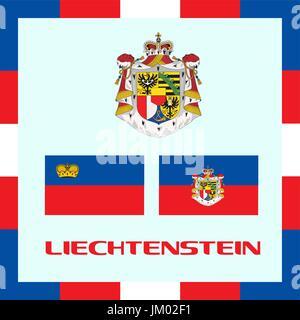 Official government ensigns of Liechtenstein - Stock Photo