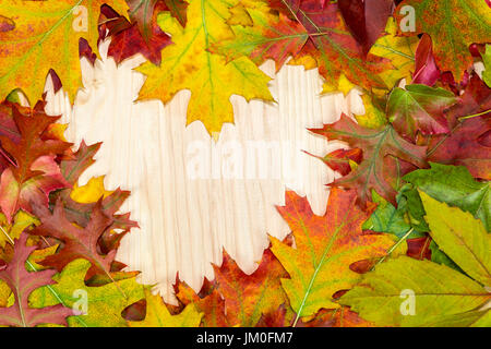 Colorful autumnal leaves lie in heart shape on wooden boards - Stock Photo