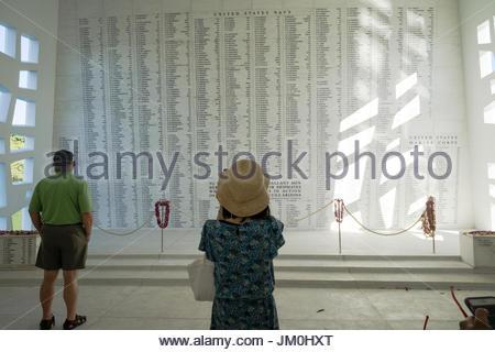 USS Arizona Memorial at Pearl Harbor, O'ahu, Hawaii - Stock Photo
