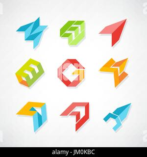 Set of symbol and shapes. Trendy icons and logotypes. Business signs symbols, labels, badges, frames and borders - Stock Photo