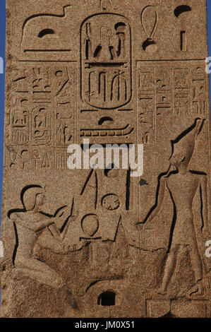 Italy. Rome. Piazza del Popolo. Flaminio Obelisk, Egyptian obelisk of Ramesses II from Heliopolis. Detail.