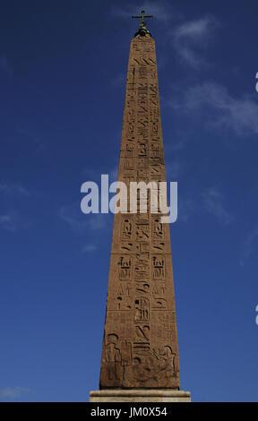 Italy. Rome. Piazza del Popolo. Flaminio Obelisk, Egyptian obelisk of Ramesses II from Heliopolis.