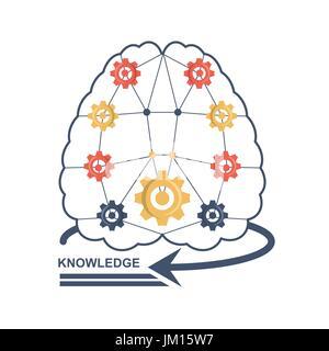 brain with gears idea to knowedge - Stock Photo