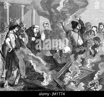 Peter of Bruys, Pierre De Bruys or Peter de Bruis;  1117 – c.1131, a popular French religious teacher, burning in - Stock Photo