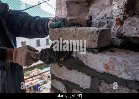 Arkhangelsk Region, Russia. 14th July, 2017. Restoration works at the Solovetsky Monastery situated on the Solovetsky - Stock Photo