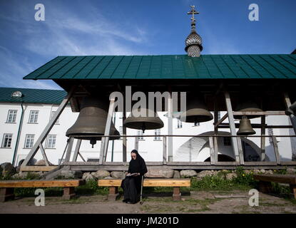 Arkhangelsk Region, Russia. 14th July, 2017. Bells of the Solovetsky Monastery situated on the Solovetsky Islands - Stock Photo